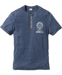John Baner JEANSWEAR T-shirt avec patte de boutonnage Regular Fit bleu manches courtes homme - bonprix