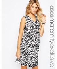 ASOS Maternity - Robe tissée imprimé léopard avec lien à nouer sur le devant - Multi