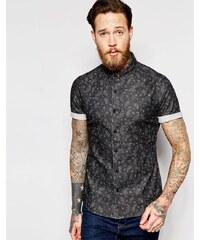 ASOS - Chemise skinny en jean avec manches courtes et imprimé cachemire - Noir