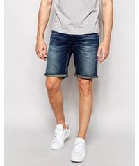 Selected Homme - Bermuda en jean délavage moyen - Bleu