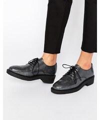 Bronx - Chaussures plates texturées à lacets - Noir