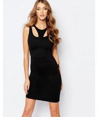 Versace Jeans - Figurbetontes Kleid mit Riemendesign am Ausschnitt - Schwarz