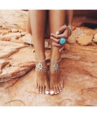 Lesara 2er-Set Fußkette mit echtem Türkis