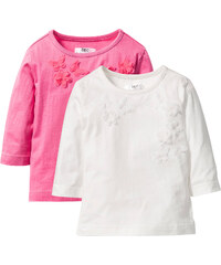 bpc bonprix collection Shirt mit Applikation (2er-Pack), Gr. 80/86-128/134 3/4 Arm in weiß für Mädchen von bonprix