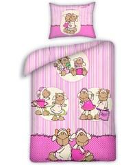 Halantex Dětské oboustranné povlečení Nici Ovečky, 140x200 cm - růžové