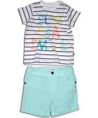 Minoti Chlapecký set - tričko a kraťasy SURF 1 - bílo-modrý