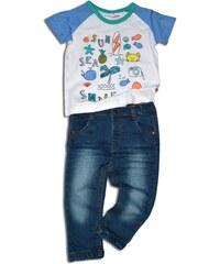 Minoti Chlapecký set - riflové kalhoty a tričko SURF 3 - modro-bílý