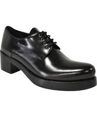 Chaussures à lacets Prada femme en Cuir veau noir