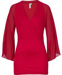 BODYFLIRT boutique Shirt mit Chiffonärmel in rot für Damen von bonprix