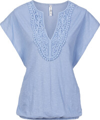 RAINBOW T-shirt à empiècement crochet bleu manches courtes femme - bonprix