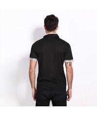 Lesara Poloshirt mit Karo-Details - Schwarz - S