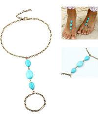 Lesara 2er-Set Fußkette mit Türkisteinen