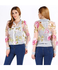 Lesara Transparente Jacke mit Blumen-Muster - Grau - S
