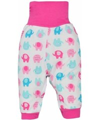 BOBAS FASHION | Dominik | Kojenecké tepláčky Bobas Fashion Dominik růžové se slony | Růžová | 56 (0-3m)