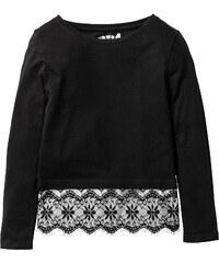 bpc bonprix collection T-shirt avec dentelle, T. 116/122-164/170 noir manches longues enfant - bonprix