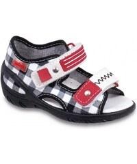 Befado Chlapecké kostkované sandály Sunny - černo-bílé