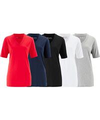 bpc bonprix collection Dlouhé triko s výstřihem do V (5 ks v balení) bonprix