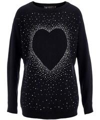 bpc selection Dlouhý pulovr se štrasovou aplikací srdíček bonprix
