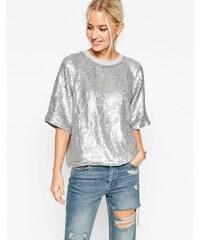 ASOS - T-shirt en molleton orné de sequins pailletés - Argenté - Gris