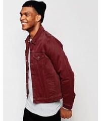 ASOS - Schmal geschnittene Jeansjacke in Burgunderrot - Rot