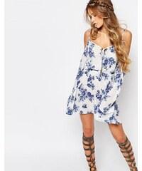 Honey Punch - Schulterfreies Boho-Kleid mit Blumenmuster und Trägern - Weiß
