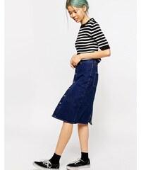 Monki - Jupe en jean taille haute - Bleu
