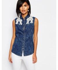 Vero Moda - Chemise en jean sans manches ornée de dentelle - Bleu