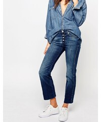 7 For All Mankind - Jean bootcut coupe courte avec ourlet brut - Bleu
