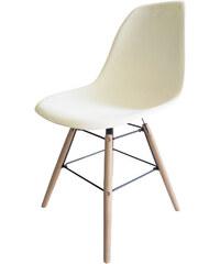 StarDeco Bílá židle + dřevěné nohy
