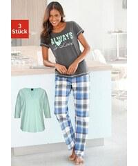Pyjamaset (3 tlg.) Modernes Design mit karierter Hose Arizona grün 32/34,36/38,40/42,44/46,48/50,52/54,56/58