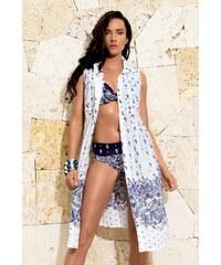 David Mare Dámské luxusní plážové šaty Contessa bílomodrá S