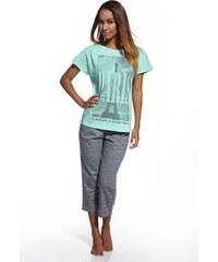 Cornette Dámské bavlněné pyžamo Paris mátová S