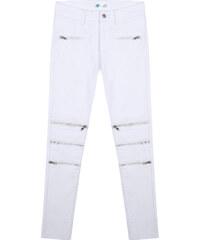 Lesara Skinny-Jeans mit Reißverschluss-Details - Weiß - S