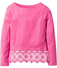 bpc bonprix collection T-shirt avec dentelle, T. 116/122-164/170 fuchsia manches longues enfant - bonprix