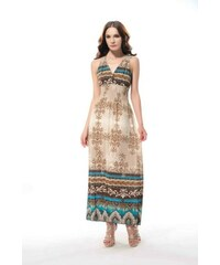LM moda Letní šaty dlouhé s krajkou béžové DL75 46b3f436dc