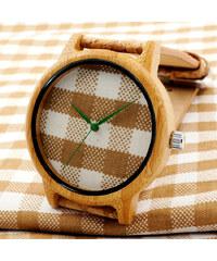 Lesara Bambus-Armbanduhr mit kariertem Zifferblatt