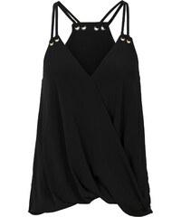 BODYFLIRT Shirttop in Wickeloptik ohne Ärmel in schwarz für Damen von bonprix
