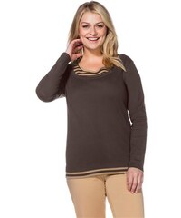 Damen Casual Shirt mit gestreiften Einsätzen SHEEGO CASUAL braun 40/42,44/46,48/50,52/54,56/58