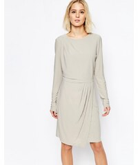 Selected - Milan - Kleid mit drapiertem Rock - Grau