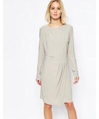 Selected - Milan - Robe avec jupe drapée - Gris