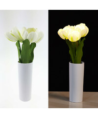 Lunio Living LED-Blumenstrauß mit Vase Tulpe - Weiß