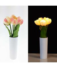Lunio Living LED-Blumenstrauß mit Vase Tulpe - Pink