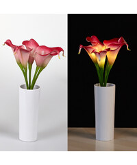 Lunio Living LED-Blumenstrauß mit Vase Calla - Pink