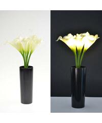 Lunio Living LED-Blumenstrauß mit schwarzer Vase Calla - Weiß