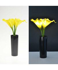 Lunio Living LED-Blumenstrauß mit schwarzer Vase Calla - Gelb
