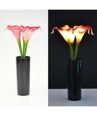 Lunio Living LED-Blumenstrauß mit schwarzer Vase Calla - Pink