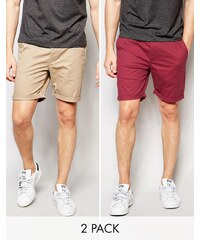 ASOS 2 Pack Slim Chino Shorts In Red and Stone SAVE 17 - Multi