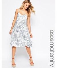 ASOS Maternity - Sommerkleid mit Falten und Porzellanmuster - Mehrfarbig