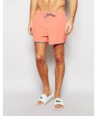 ASOS - Short de bain court style running à passepoils contrastants - Corail - Orange