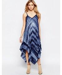 Hazel - Robe longue effet tie-dye à ourlet roulotté - Bleu marine